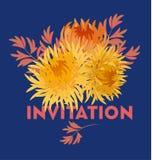 Het gele malplaatje van de de bloemkaart van de de herfstchrysant gouden-madeliefje F royalty-vrije illustratie