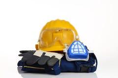 Het gele materiaal van de helmveiligheid Stock Foto's