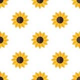 Het gele Naadloze Patroon van het Zonnebloem Vlakke Pictogram royalty-vrije illustratie