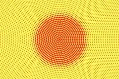 Het gele rood stippelde halftone Gecentreerde cirkel gestippelde gradiënt Halftintachtergrond royalty-vrije illustratie
