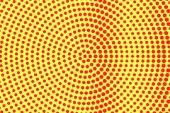Het gele rood stippelde halftone Overmaatse radiale gestippelde gradiënt Halftintachtergrond vector illustratie