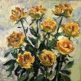 Het gele rozen schilderen Royalty-vrije Stock Foto