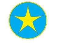 Het gele sterembleem Royalty-vrije Stock Foto's