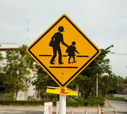 het gele teken van de schoolstreek Stock Fotografie
