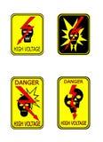 Het gele teken van het hoogspanningsgevaar vector illustratie
