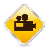 Het gele vierkante pictogram van de camera Royalty-vrije Stock Foto's