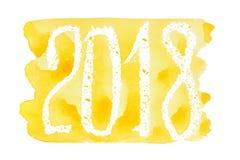 2018 - Het gele waterverf van letters voorzien vector illustratie