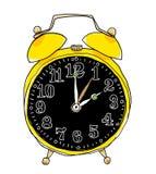 Het gele wekker leuke kunst schilderen Stock Foto