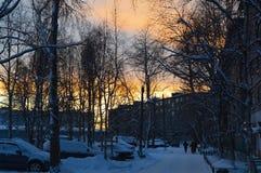 Het gelijk maken in de polaire stad stock foto's