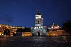 Het gelijk maken onderaan de gouden koepels van St Michael Kathedraal Stock Foto