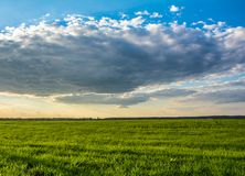 Het gelijk maken van bewolkte hemel in de lente Stock Afbeeldingen