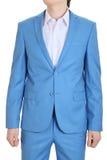 Het gelijk maken van blauw kostuum. Turkooise kostuums voor mensen. Stock Foto's