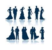 Het gelijk maken van silhouetten Stock Foto