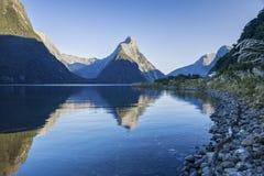 Het Geluid van Nieuw Zeeland Milford Stock Afbeeldingen