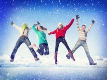 Het Geluk van de de Vriendschapswinter van de Kerstmisviering Stock Fotografie