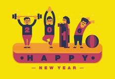 Het gelukkig nieuw jaar van 2016, Oefening en yogathema Vector vlakke illustratie Royalty-vrije Stock Foto