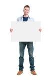 Het gelukkige aanplakbiljet van de kerelholding Stock Afbeeldingen