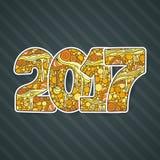 Het gelukkige aantal van de Nieuwjaar 2017 viering Vectorkerstmis Royalty-vrije Stock Afbeeldingen