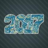 Het gelukkige aantal van de Nieuwjaar 2017 viering Vectorkerstmisillustratie in zentangle Stock Foto