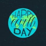 Het gelukkige Aardedag Van letters voorzien Royalty-vrije Stock Fotografie