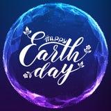 Het gelukkige Aardedag van letters voorzien op abstract vectornetwerkgebied Digitale bol met elegante kalligrafie Royalty-vrije Stock Foto