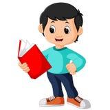 Het gelukkige alleen boek van de jongenslezing stock illustratie