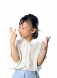 Het gelukkige Aziatische aantal van de kindtelling en het kennen van het antwoord stock afbeeldingen