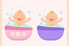 Het gelukkige babymeisje en bad van de babyjongen Vlak Ontwerp vector illustratie