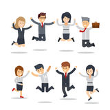 Het gelukkige bedrijfsmensen springen Het werk van het team Groep zakenlieden Royalty-vrije Stock Foto