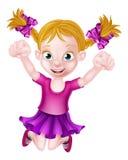 Het gelukkige Beeldverhaalmeisje Springen Royalty-vrije Stock Foto