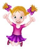 Het gelukkige Beeldverhaalmeisje Springen Royalty-vrije Stock Afbeeldingen