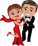 Het gelukkige Beeldverhaalpaar Dansen vector illustratie