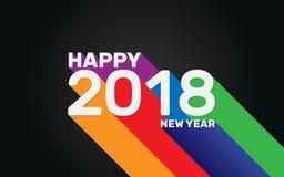 Het gelukkige behang van de Nieuwjaar 2018 kleurrijke lange schaduw Stock Fotografie