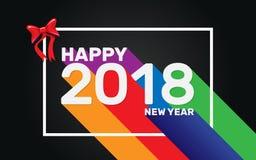 Het gelukkige behang van de Nieuwjaar 2018 kleurrijke lange schaduw Royalty-vrije Stock Foto's