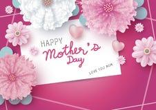 Het gelukkige bericht van de moeder` s dag op Witboekkaart en bloemen vector illustratie