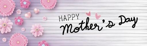 Het gelukkige bericht van de moedersdag en roze bloemen met harten op hout stock illustratie
