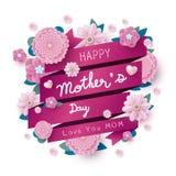 Het gelukkige bericht van de moedersdag en roze bloemen met lint stock illustratie