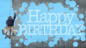 Het gelukkige blauw van de Verjaardagsmuur royalty-vrije stock foto
