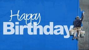 Het gelukkige blauw van de Verjaardagsmuur stock afbeelding
