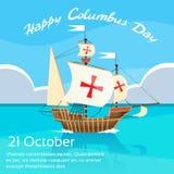 Het gelukkige Blauwe Water van Columbus Day Ship Holiday Ocean royalty-vrije illustratie