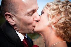Het gelukkige bruid en bruidegom kussen Stock Fotografie
