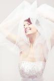 Het gelukkige bruid glimlachen Royalty-vrije Stock Foto's