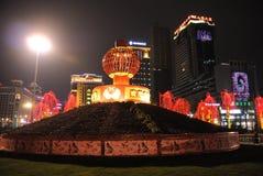 het gelukkige Chinese nieuwe jaar van 2013 bij nacht Stock Foto