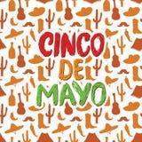 Het gelukkige Cinco de Mayo-de Hand van de groetkaart van letters voorzien Mexicaanse vakantie Vector illustratie Stock Fotografie