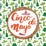 Het gelukkige Cinco de Mayo-de Hand van de groetkaart van letters voorzien Mexicaanse vakantie Vector illustratie Stock Afbeelding