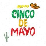 Het gelukkige Cinco de Mayo-de Hand van de groetkaart van letters voorzien Mexicaanse vakantie Vector illustratie die op witte ac Stock Fotografie