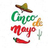 Het gelukkige Cinco de Mayo-de Hand van de groetkaart van letters voorzien Mexicaanse vakantie Vector illustratie die op witte ac Royalty-vrije Stock Foto