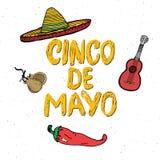Het gelukkige Cinco de Mayo-de Hand van de groetkaart van letters voorzien Mexicaanse vakantie Vector illustratie op witte achter Royalty-vrije Stock Afbeelding