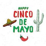 Het gelukkige Cinco de Mayo-de Hand van de groetkaart van letters voorzien Mexicaanse vakantie Vector illustratie op witte achter Stock Foto's