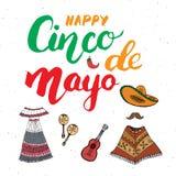 Het gelukkige Cinco de Mayo-de Hand van de groetkaart van letters voorzien Mexicaanse vakantie Vector illustratie op witte achter Stock Foto
